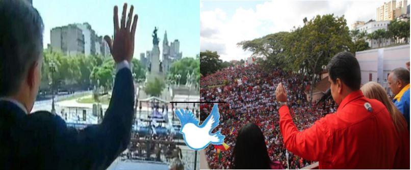 Macri apoyó a un gobierno golpista, mientras el Presidente Legítimo Nicolá Maduro recibe el apoyo de su población.